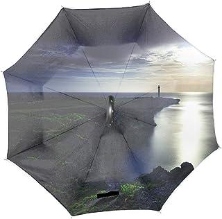 逆折り式傘 沖縄うさ中神読谷岬残波 耐風撥水 晴雨兼用 安全光反射 軽量 ビジネス傘 収納ポーチ付き