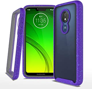 Moto G7 Power Case, Moto G7 Supra Case, Moto G7 Optimo Maxx Case, Jeylly Full-Body Rugged Clear Hybrid Bumper Case, Built-in-Screen Protector, Shock Proof, DO NOT FIT Moto G7 Or Moto G7 Play, Purple