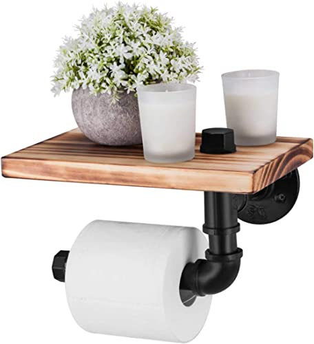Elibbren Industrial Toilet Paper Holder with Rustic Wooden Shelf and Cast Iron Pipe Hardware, Pipe Toilet Paper Holde...