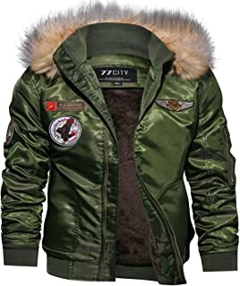 Men's Hooded Faux Fur Lined Casual Long Sleeve Bomber Jacket Coat