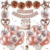 SPECOOL Decoración De Cumpleaños para Mujeres De Oro Rosa, Globos De Confeti De Oro Rosa De Feliz Cumpleaños con Adorno para Tarta, Pancarta, Borlas Brillantes, Globos De Cumpleaños