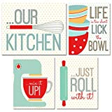 Kitchen Wall Art Prints - Set of 4 (8 inches x 10 inches) Unframed Glossy Photographs