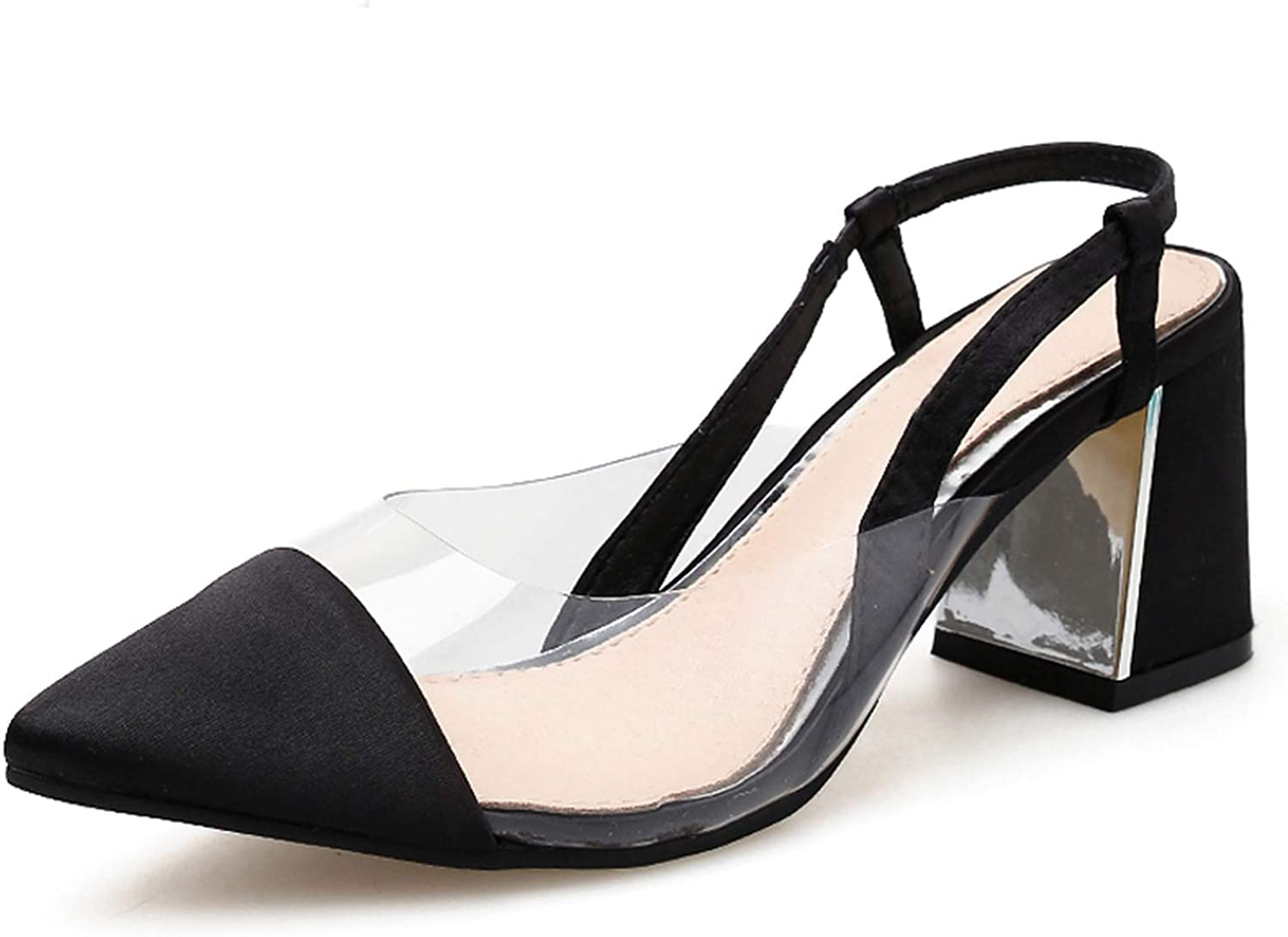 Transparent Sexy Pumps High HeelsWomen Shallow Square Heel Pumps Pointed Toe Lady shoes