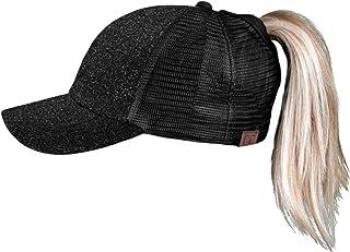 Funky Junque Womens Baseball Cap High Ponytail Messy Bun Glitter Sequin Rave Mesh Hat
