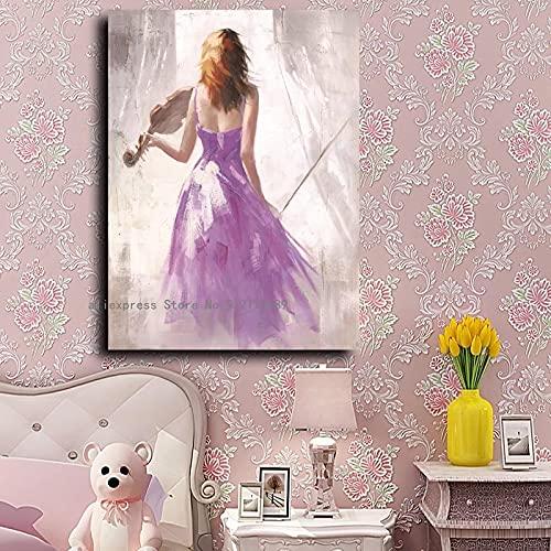 cuadros decoracion salon listones de madera 40x60cm Frameloos Colorido Ballet música chica lienzo arte...