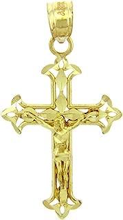 Solid 14k Yellow Gold Cross Charm Fleur-de-Lis Crucifix Pendant
