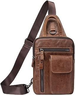 First Cowhide Leather Zipper Multi Pocket Bag Sprots Outdoor Shoulder Bag Daypack Cross Body Bag Sling Travel Chest Bag Bolso de pecho para Mens Women Mans
