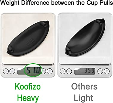Koofizo Bin Cup Drawer Pull - Oil Rubbed Bronze Cabinet Handle, 76mm / 3 Inch Screw Spacing (10 Pack) for Kitchen Cupboard Be