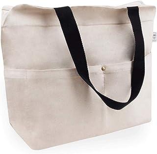 Cottonbagjoe Cottonbagjoe Tragetasche | 2 Langen Henkel | 34 x 35 x 12 cm | mit Reißverschluss, und großem Boden | sehr robust | Baumwolltasche | Handtasche | Einkaufstasche | Segeltuch Material | Canvastasche