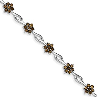 Solid 925 Sterling Silver Brown Simulated Smokey Quartz Tennis Bracelet - with Secure Lobster Lock Clasp 7