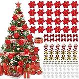115PCS Ornamento di Albero di Natale,JUSTDOLIFE Glitter Artificiali di Natale Fiori Rossi Con Fiocchi di Neve Nastro di Babbo Natale Bowknot Bell Clip Per Decorazioni Natalizie Per Feste di Matrimonio