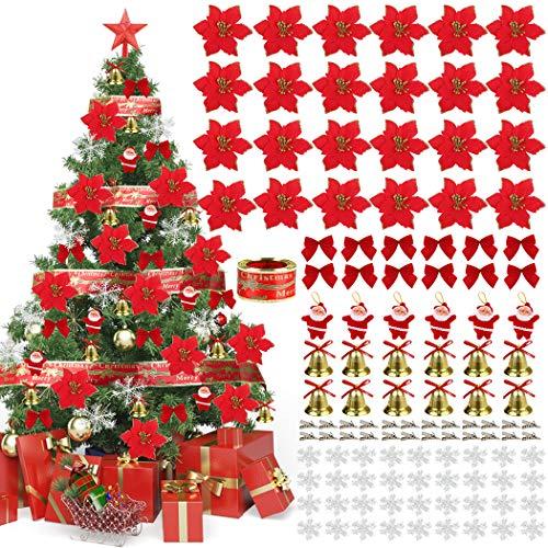 JUSTDOLIFE Flores de Navidad, Adorno Brillo Artificial Navidad Flores Rojas con Copos...