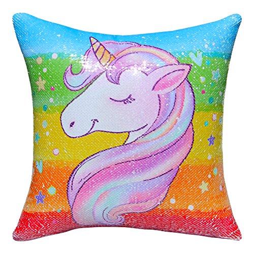 Icosy - Copricuscino decorativo con stampa di unicorno con paillettes - federa reversibile - 40 cm x 40 cm, Rainbow Unicorn/Silver, 40cmx40cm