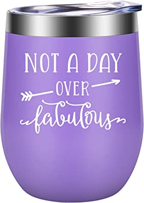 Birthday Gifts for Women - Funny Mothers Day, Birthday Wine Gifts for Women, Mom, Her, Grandma, Sisters, Wife, Girlfriend, Best Friends, Daughter, Aunt - LEADO Not a Day over Fabulous Wine Tumbler