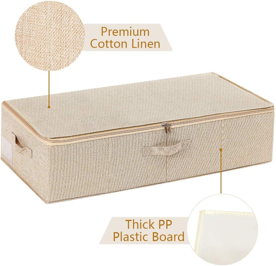 ANMINY Underbed Storage Bins Large Size Foldable Storage Bags Boxes Cubes Cotton Linen Closet Clothes Comforter Organizer Containers With Handles Zipper Lid PP Plastic Board Beige 30x 15x 7