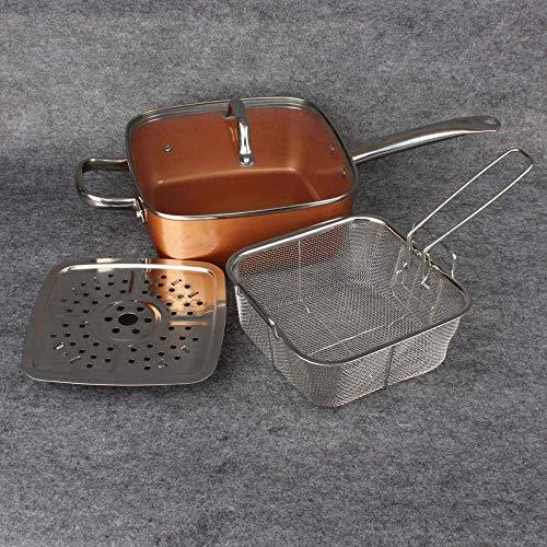 pentole batteria 9,5 pollici padella antiaderente in ceramica padella quadrata in rame per induzione, coperchio in vetro, cestello per frittura, cestello per frittura, usato a induzione-Cina