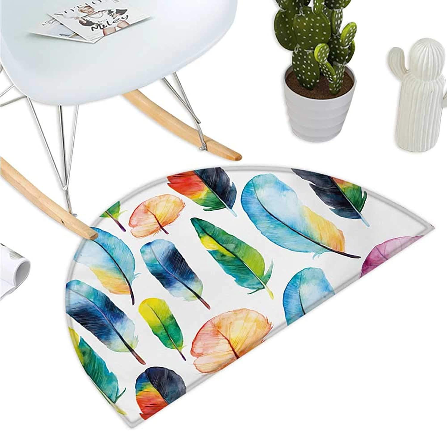 colorful Half Round Door mats Watercolor Feathers Hand Drawn Pattern Birds Animals Theme Artistic Illustration Entry Door Mat H 47.2  xD 70.8  Multicolor