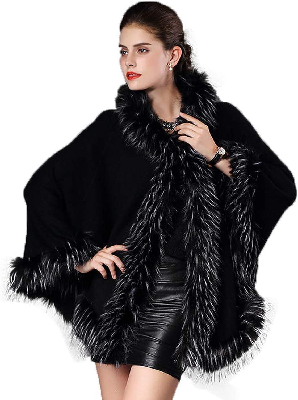 Fenghuavip Women's Stylish Bridal Faux Fur Shawl Wraps Hooded Wedding Cloak Cape(Black)