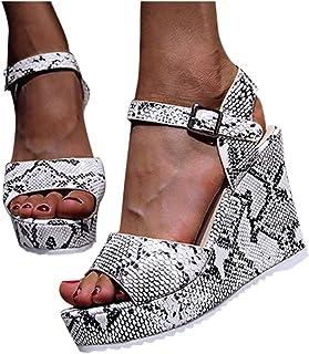 Padaleks Women's Platform Wedge Open Toe Sandals Ankle Strap Buckle Chunky Pumps Dress Shoes Flatform Sandal