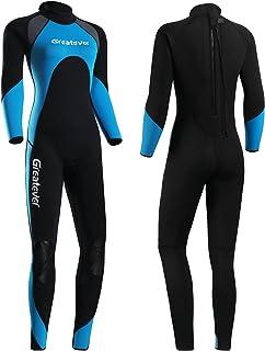 Greatever Wetsuit for Men Women,3mm Neoprene Full Body Keep Warm Long Sleeve Back Zip Full Scuba Diving Suit UV Protectio...