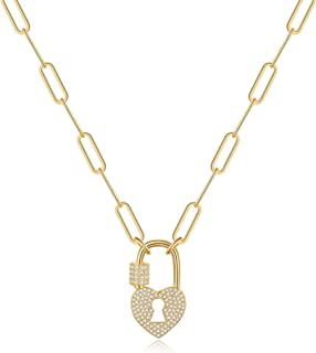 Turandoss Gold Paperclip Chain Necklace for Women, 14K Gold Plated Dainty Paperclip Link Chain Necklace Medallion Evil Eye...