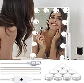 Winzwon Espejo de Maquillaje Luces Hollywood Make-up Vanity Mirror Light 12 bombillas y 5 niveles de brillo regulables 15.2ft pies Para Baño, Dormitorio, Escritorio, Mesa (espejo no incluido)