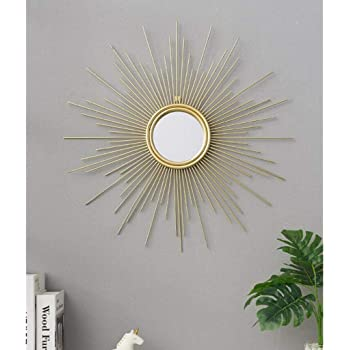 Art Deco Mirrors Living Room Wall Mirror Decorative Starburst Mirror Metal Wall Hanging Mirror In Sunburst J4 5 Color Gold Size 60cm 23 6inch Amazon Co Uk Kitchen Home