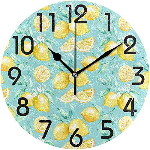 Cy-ril Horloge Murale Ronde alimentée par Batterie élégante à Motif de Citron Frais pour la Maison, Le Bureau, l'école