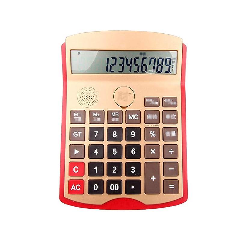 リズミカルな出身地クラシック大画面電卓 音声計算機ファッションリアリティ発音計算機Big Button Business Calculator 標準 (Color : Red, サイズ : S)