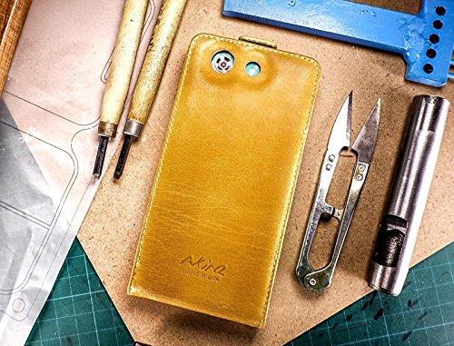 Urcover Akira Hand Made Echt Leder Handyhülle kompatibel mit Sony Xperia Z3 Compact Wallet Flip Cover Handgemacht Case Schutzhülle Etui Flip Wallet Pen Braun