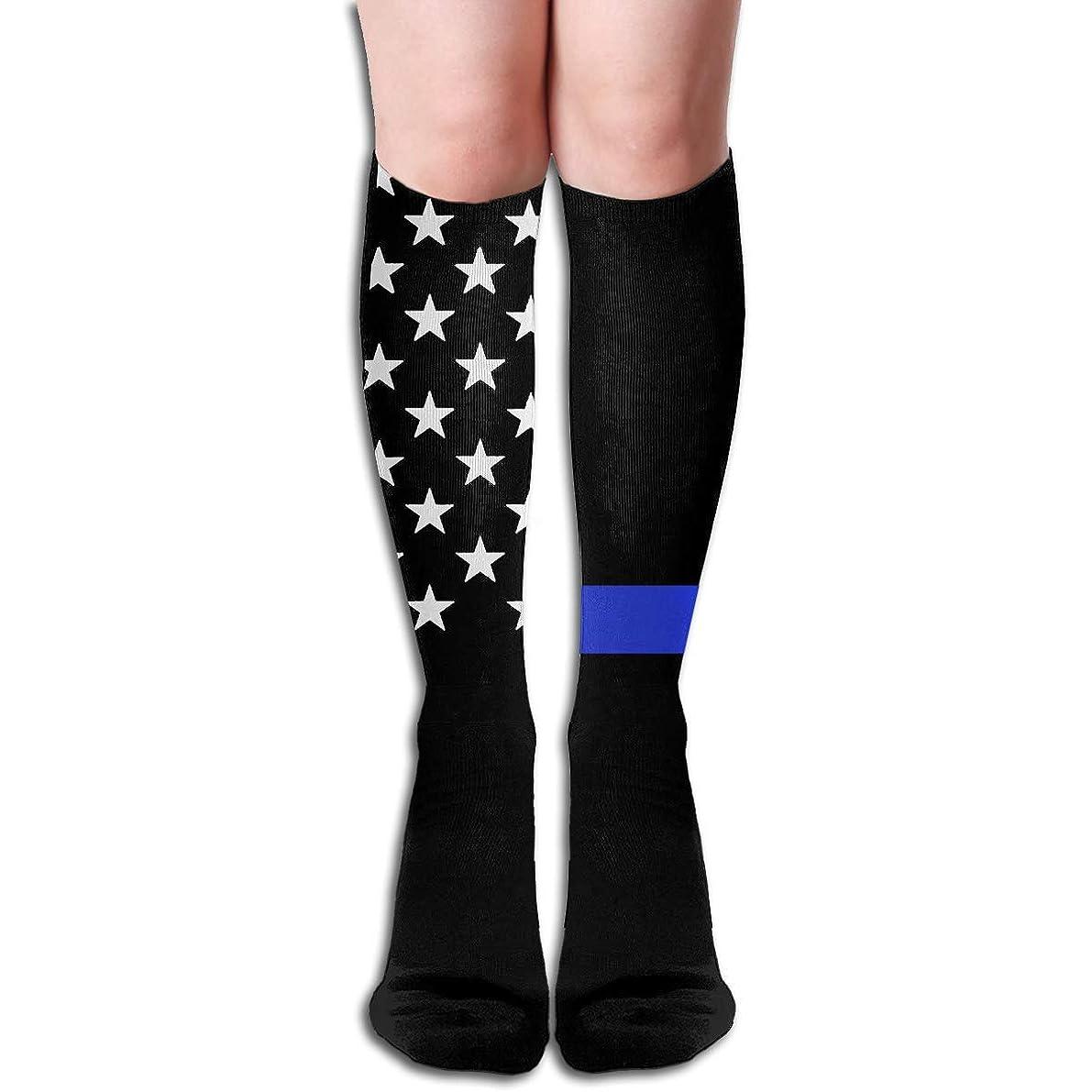 腐敗あまりにもクリップqrriy女性の青細いラインテキサスソフトクリスマス膝高ストッキング靴下、クリスマス楽しいカラフルなドレスソックス