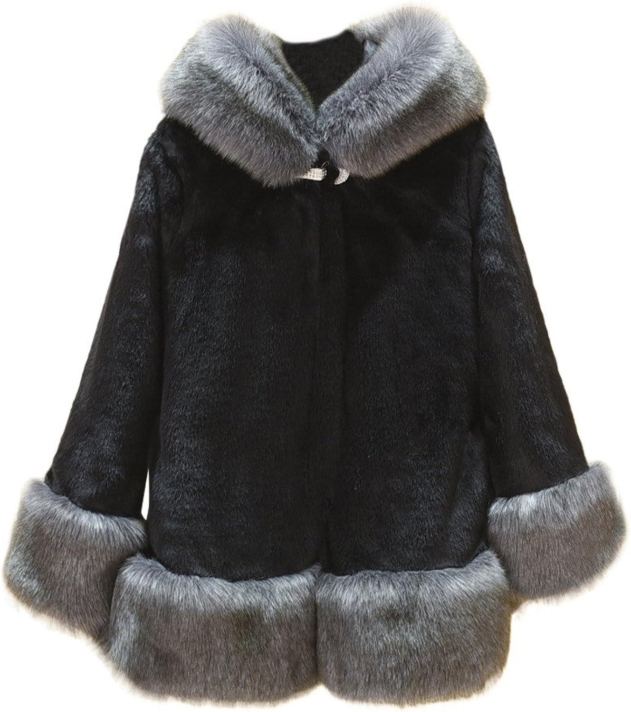 Faux Fur,Women Long Sleeve Parka Outwear Fox Fur Coat