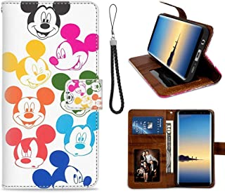 DISNEY COLLECTION Wallet Case Compatible with Samsung Galaxy S7 Mickey Mouse Faces Shockproof Bumper Credit Cards Cash Pocket Kickstand Protecive Cover