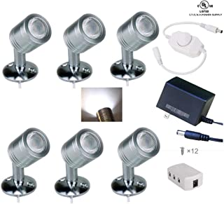 Xking 12V 1W LED Spotlight/Cabinet Light/Jewelry Lamp/Ceiling Light/Display Cabinet Light/Museum/Wall Light and PWM in-line Dimmer- White 6000K (Set of 6)