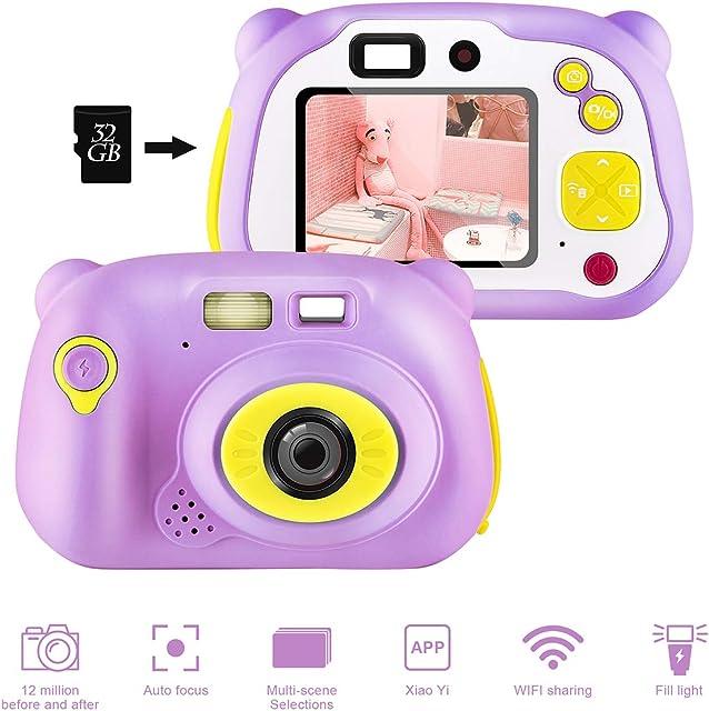 shumeifang Cámara Digital para Niños con 32GB Tarjeta TF & Acollador 2 Objetivos Selfie 12 MP 2720P HD Video Cámaras 2.0 Pulgada LCD Pantalla a Color Carcasa de Silicona Rosa