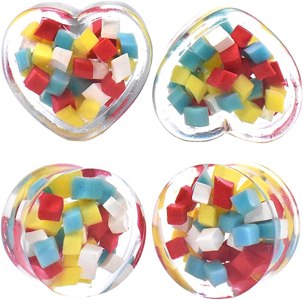 2Pairs Colored Squares Acrylic Ear Tunnels Plugs Expanders Gauges Body Piercing Jewelry Size 0g(8mm) to 1''(25mm))