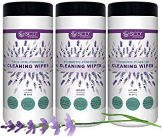 SCD Probiotics Probiotic Powered Cleaning Wipes, All Natural Cleaning Wipes, Multi Purpose Cleaner Wipes with Lavender Ess...