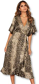 AX Paris Women's Snake Print Frill Wrap Midi Dress