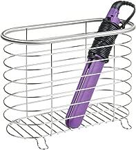 mDesign Metal Wire Hair Care & Styling Tool Organizer Holder Basket - Bathroom Vanity Countertop Storage for Hair Dryer, Flat Irons, Curling Wands, Hair Straighteners - Brushed
