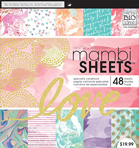 Me and My Big Ideas Mambi Papier Pad 12 Zoll x 12 Zoll 4-modern Marmor