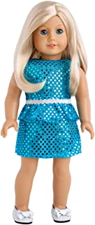 DreamWorld Collections - Turquoise - Sparkling Holiday Party Dress with Matching Silver Shoes - Clothes Fits18 Inch American Girl Doll (Doll Not Included)