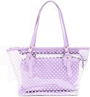 LITTLE TREE-AU Neevas Clear Plastic Transparent Work Tote Shoulder Jelly Beach All Purpose Handbag Girl (Purple)