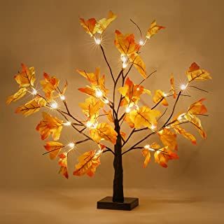 """Thanksgiving Decorations Table Lights, Thanksgiving Maple Leaves Autumn Tree Decoration 24"""" 24 LED, Thanksgiving Gift, Battery Powered"""