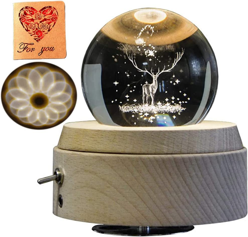 3D Crystal Ranking integrated 1st Max 69% OFF place Ball Music Box Luminous The Musical Deer Rotating