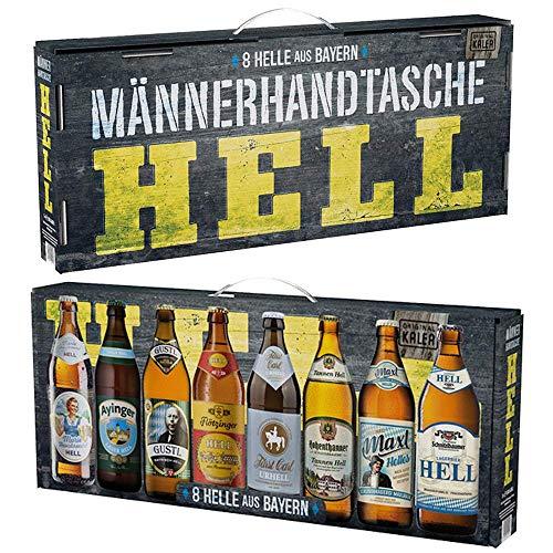 Beer Tasting Box | Geschenk-Idee | Papa | Männer | Bier-Spezialitäten von Privatbrauereien | mit Henkel | Geburtstag (Männerhandtasche Hell 8x0,5l)