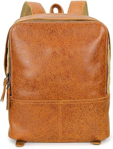 Sac à dos pour ordinateur portable de voyage Sac à dos portatif en cuir d'épaule de sac à dos de grande capacité d'étudiants de sac à dos d'étudiants pour le sac à main imperméable de Garçons et de fi