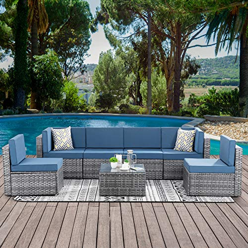 Walsunny 7 Piece Outdoor Patio Furniture Sets, PE Silver Gray Rattan Wicker Sectional Sofa Couch...