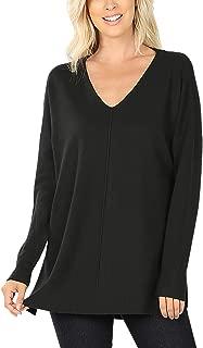 RIAH FASHION Boho Loose Fit Hi-Low Knit Tunic - Long Sleeve V-Neck Center Seam Sweater Top
