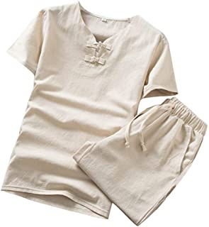 RAINED-Men's Cotton Shorts & Shirts Classic Plus Size Short Sleeve Outfit Set Casual Loose Solid T Shirt 2 Piece Outfits