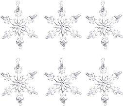 6 Piece Set Acrylic Christmas Snowflakes Small Christmas Tree Pendant